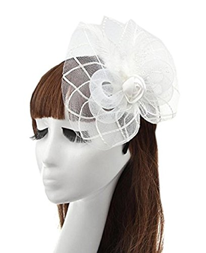 [GOLIA Fashion Women's Fascinators Small Hairpin Feather Mesh Net Hat Headpieces (White)] (White Top Hat Fascinator)