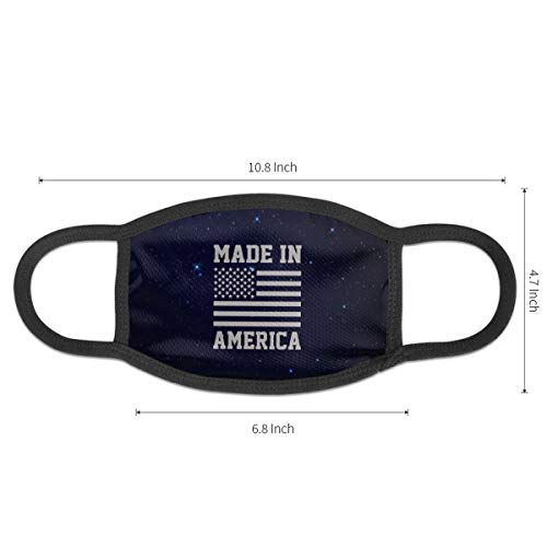 Made in America USA Military Pride America Flag Men's Women's Dust Face Mask | Unisex Mask for Cycling Black