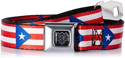 Buckle-Down Men's Seatbelt Belt Puerto Rico Kids, Flag Continuous, 1.0
