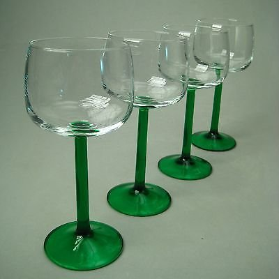 Emerald Green Stem Crystal Hock Wine Glass Set of 4
