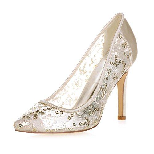 L@YC 0608-25 Female High Heel Tip Closed Toe Lace Pump Wedding Platform Satin Court Shoes Gold bj17s