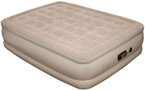 Pure Comfort Raised Suede Top Air Bed with Built in Pump (Tan, Queen), Outdoor Stuffs