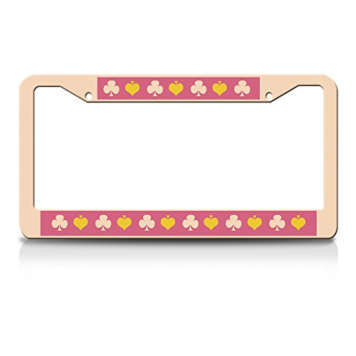 Jesspad - Playing Cards Plum - Creamy Nude Aluminum Car License Plate Frame for Girls, License Tag Holder,Auto Frame Cover Grill ()