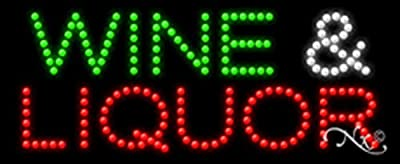 11x27x1 inches Wine & Liquor Animated Flashing LED Window Sign
