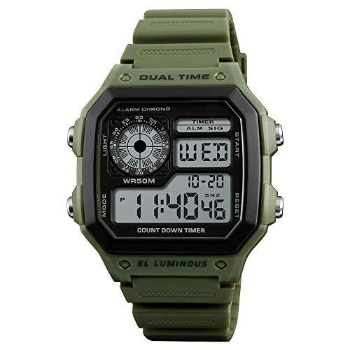 ALCADAN LED Digital Watch Waterproof Alarm Chronograph Sport Watches for Men (Green)