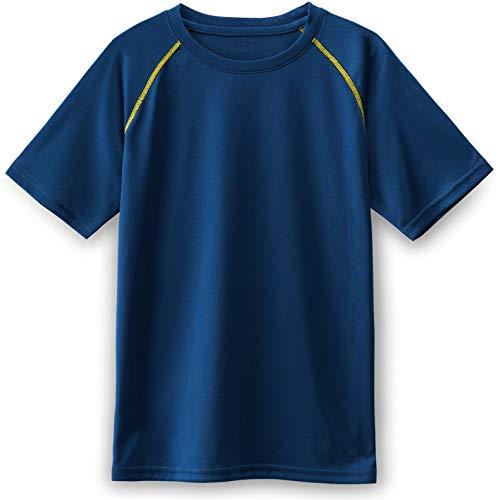 Dri Mesh Short Sleeve T-shirt - TSLA Boys's HyperDri Short Sleeve T-Shirt Athletic Cool Running Top, Hyper Dri Crewneck(kts01) - Navy & Yellow, Small (8)