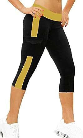 Sunjazz Women's Capri Tights Yoga/Running Pants Leggings Medium Black+Yellow