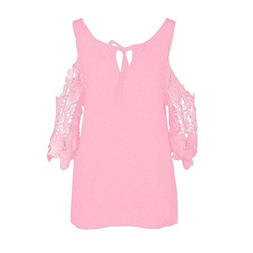 Top Dnudes Rose Dihope T Shirt Printemps Tee Shirt Dentelle Automne paules en Haut Femme Sangle Manche Casual qar7aZ