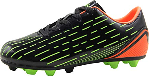 BomKinta Kid's FG Soccer Shoes Arch-Support Athletic Outdoor Soccer Cleats Black Size 1 M US Little Kid