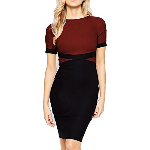 WOOSEA Women's Elegant Colorblock Wear to Work Cocktail Party Pencil Dress (Large, Burgundy)