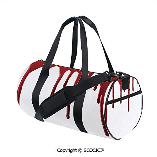 Unisex Cylinder Sports Bag,Flowing Blood Horror Spooky Halloween Zombie Crime Scary Help me Themed IllustrationSports and Fitness Essentials,(17.6 x 9 x 9 in) Red White -