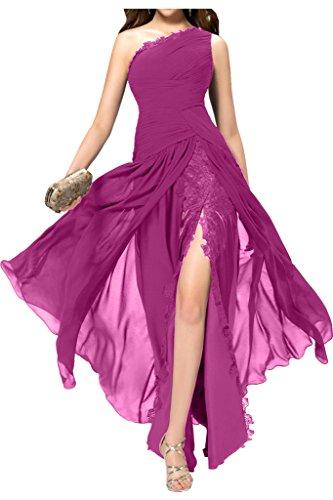 Schulter Ballkleid amp;Spitze Abendkleid Schlitz Chiffon Linie Ivydressing A Fuchsie Damen Ein w8FqTE