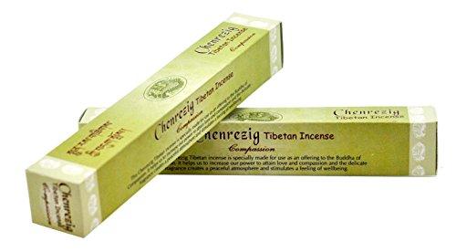 Set of 2 Packages Tibetan All Natural Herbal Incense Sticks,64 Sticks, Free Incense Burner (Chenrezig (Compassion))