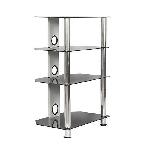 SevenFanS Glass Media Stand HIFI stand HIFI Racks 4 Tier glass shelf, Audio Video Components, Storage for TVs, HIFI unit, Xbox, Playstation, Speakers, Cable Boxes (silver)