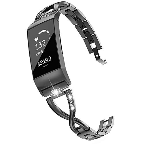 Wearlizer Compatible with Charge 3 Bands and Charge 3 SE for Women Metal Replacement Charge 3 hr Band Strap with Bling Rhinestone Bracelet Bangle (Black)