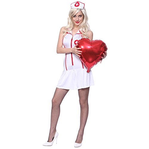 Sexy Nurse Uniform (Sexy Nurse Costume Uniform L us 10 12,White,Large)