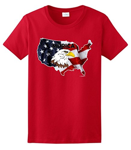 Funny Patriotic Murica Bald Eagle Over United States Patriotic Ladies T-Shirt Small Red