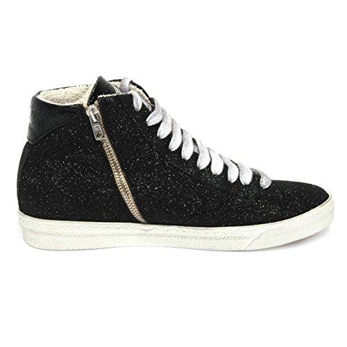 P448 Women Glitter Scarpa Shoes Donna Black Nero B1034 Sneaker Glitter rBaxrqO