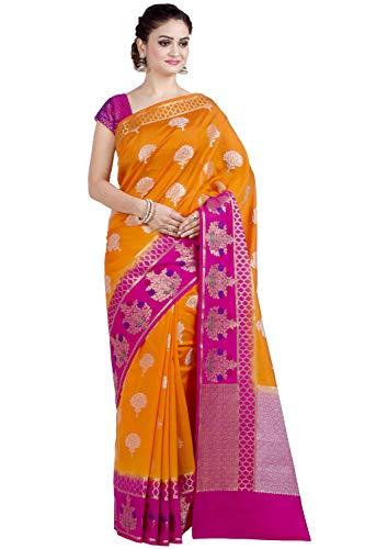 (Chandrakala Women's Orange Kataan Silk Blend Banarasi Saree,Free Size(1305ORA))
