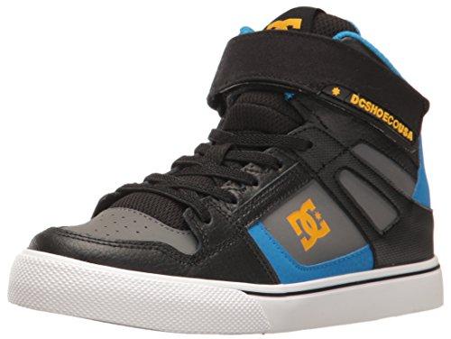 DC - Zapatillas de skateboarding para niño negro, azul y gris