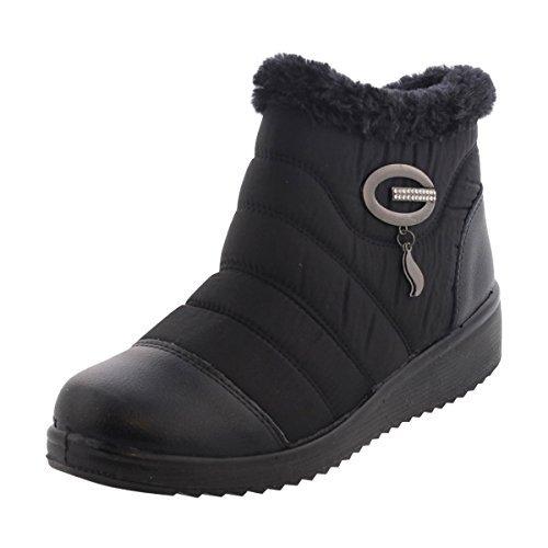 Gnd Fashion - Womens Oval Spänne Päls Komfort Toffeln - Svart Svart