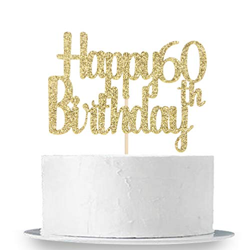 INNORU Happy 60th Birthday Cake Topper, Gold Glitter Birthday Party Cake Decorations Supplies ()