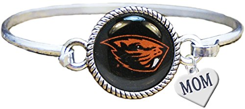 Oregon State Beavers Store - Sports Accessory Store Oregon State Beavers Silver Cuff Bangle Bracelet WITH MOM CHARM Jewelry OSU