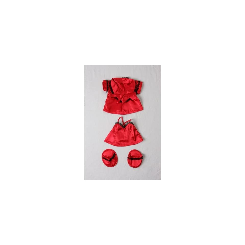 Red Silk Nightie w/Robe & Slippers Pajamas Outfit Teddy Bear Clothes Fits Most 14   18 Build A Bear, Vermont Teddy Bears, and Make Your Own Stuffed Animals