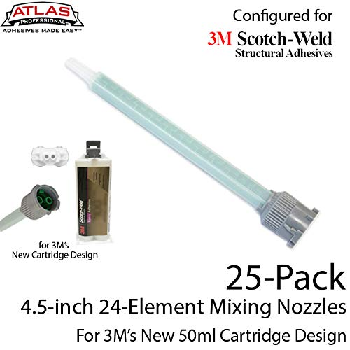 (EPX Mixing Nozzles 25-Pack-fits 3M 50ml Duo-Pak Adhesive Cartridges (Longer 24-Element, 4.5in, 1:1 & 2:1 ratios))