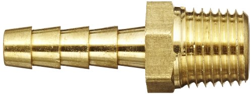 Anderson Metals 57001 0404 Brass Hose Fitting Adapter 1 4 Barb x 1 4 NPT Male Pipe