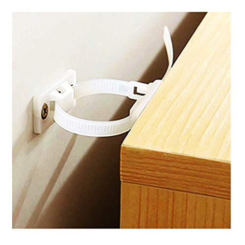 Tip Wall (AIOOK Anti Tip Furniture Kit Protect The Safety of Baby and Pet, White Nylon Anchor Straps (Pack of 6))