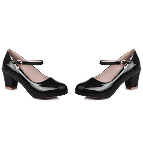 Causal Mary PU Patent Heel Strap Women's Shoes Mid Ankle Block 1black Pumps Leather DecoStain Janes Z0q5cHP