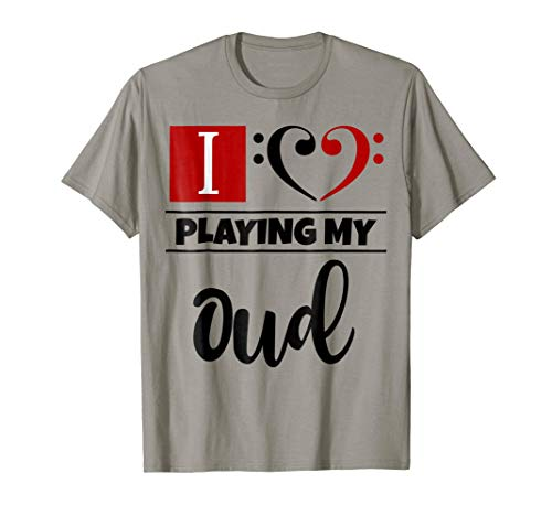 Double Black Red Bass Clef Heart I Love Playing My Oud T-Shirt