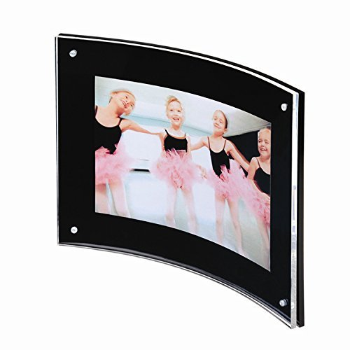 Yakri 5x7 Curved Sign Holder,Acrylic Photo Frame Magnetic Document Poster,Diploma,Certificate,Landscape,Clear&Black