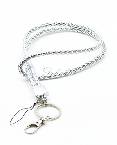Braided PU Leather Necklace LANYARDs Keychain for key, ID holder, Cell phone, USB, or Camera (Silver)