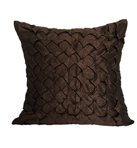 Set of 2 Dark Brown Textured Euro Sham covers With Smocking Details Brown European Sham covers In Solid Color (26x26 inches, Dark Brown, Set of 2 pillow covers)