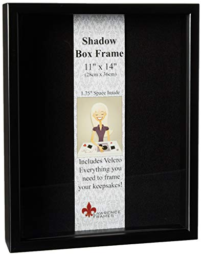 Lawrence Frames 790011 Black Wood Shadow Box Picture Frame, 11 by 14-Inch (Box Metal Shadow)