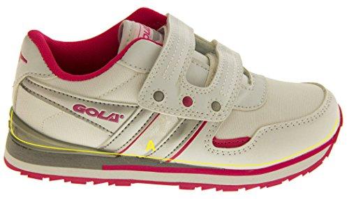 Gola Aka946 Niñas Niños Correa De Velcro Zapatillas De Deportes Ocasionales Blanco y rosa