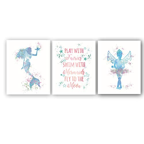 - Abstract Mermaid Art Print Set of 3 (10