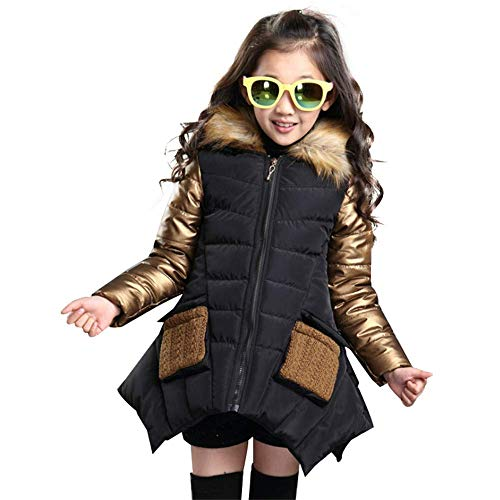 IINFINE Girls Boys' Lightweight Packable Hooded Down Puffer Jacket(Black-95cm)