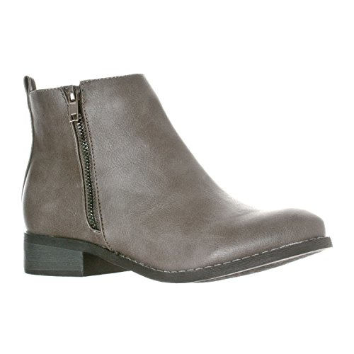 Riverberry Women's Avery Low-Heel Zip-Up Ankle Booties Boots, Grey, 8.5 ()