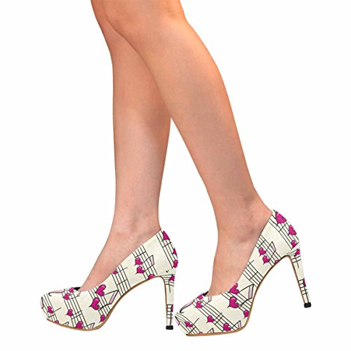 Heel Fashion High Classic Music Womens Heart Platform InterestPrint Pumps IwqEgz