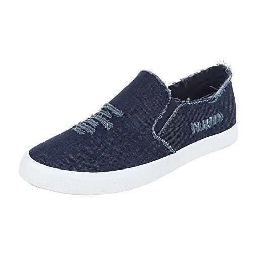 Ital-Design Sneakers Low Damenschuhe Schnürsenkel Freizeitschuhe Dunkelblau 6323-Y