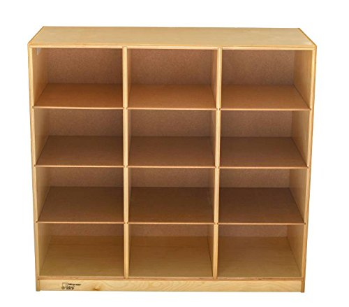 Childcraft 271663 Mobile Big Tub Cubby Unit Without Tubs, 12 Trays, All-Birch Veneer Panel, 38-1/2 x 16 x 36, Natural Wood Tone