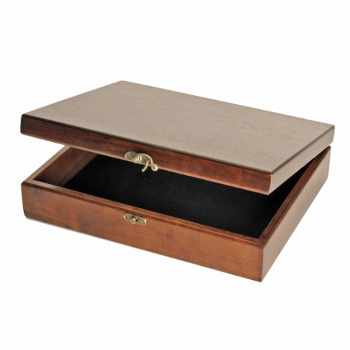 - WE Games Old World Wooden Treasure Box with Brass Latch (Walnut Finish)