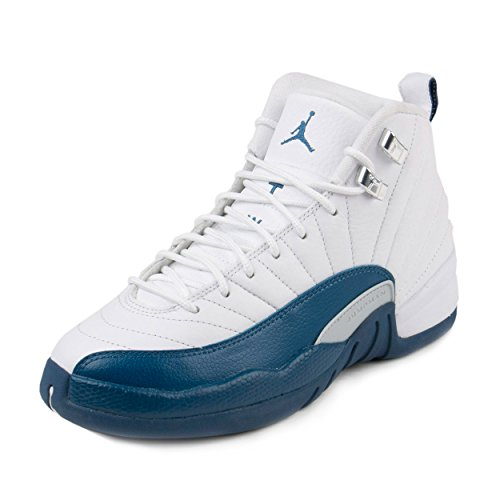JORDAN 12 Retro Bg Big Kids Style, White/French Blue/Metallic Silver, 5.5 by Jordan
