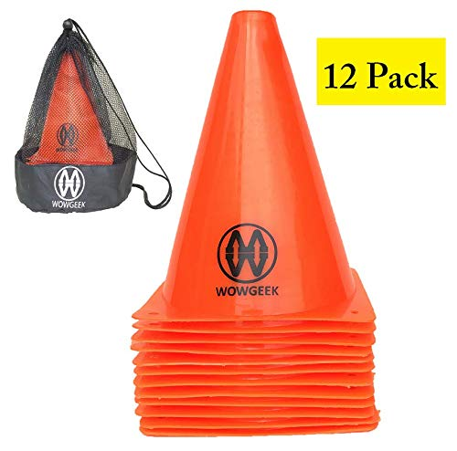 "WOWGEEK 7.5 Inch Plastic Sport Training Traffic Cone 12 Orange Traffic Safety Cones Sign Sport Soccer Football Training Cone Small 7"" (Set of 12) Sports Outdoor Indoor Marker Activity Agility 7 Inch from WOWGEEK"