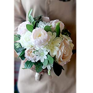 Justmeetyou Elegant Wedding Bouquet, Bride Bridal Bouquets Artificial Flower for Wedding Wedding Trip Shoot Anniversary Party 44