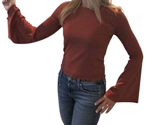 cupcakes and cashmere Women's Kamala Rib Knit Bell Sleeve w/Hem Details, Cognac, Medium