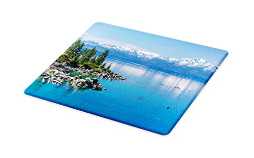 Cutting Board, Blue Waters of Lake Tahoe Snowy Mountains Pine Trees Rocks Relax Shore, Decorative Tempered Glass Cutting and Serving Board, Small Size, Pale Blue Green Grey ()